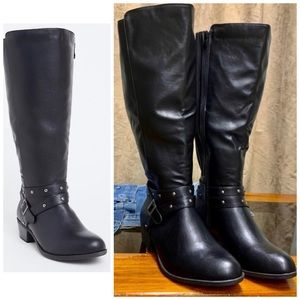Black faux leather wide tall boot (WW)